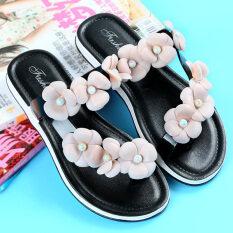 ส่วนลด สินค้า ชายหาดรองเท้าเกาหลีพลาสติกและรองเท้าแตะคริสตัลคำ สีดำ 1716A Liu Duo Hua หนาชุดนิ้วเท้าด้านล่าง