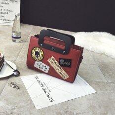 ขาย C L Shoulder Bag กระเป๋าทรงสี่เหลี่ยมประดับหมุดสุดฮิตสไตล์เกาหลี Red ราคาถูกที่สุด