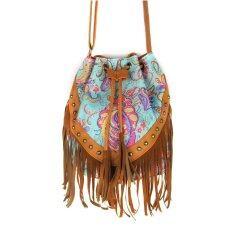 ซื้อ Canvas Fringe Tassel Bag Flower Printed Shoulder Bag Drawstring Bucket Bag Casual Crossbody Bag Vococal ออนไลน์