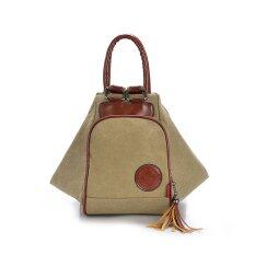 ซื้อ Canvas Handbag Shoulder Bag Multifunction Backpack Women Bag Khaki ถูก Thailand