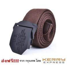ขาย เข็มขัดผู้ชาย เข็มขัดผ้าสีน้ำตาล หัวเหล็กสีดำ Canvas Men Belt Brown Us ผู้ค้าส่ง