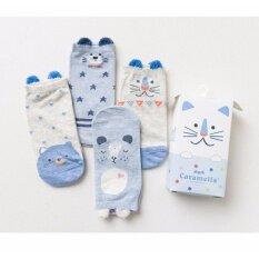 ขาย ถุงเท้า Caramella ถุงเท้าข้อเท้า ลายน่ารัก มาพร้อมกล่องน่ารัก 4คู่ กล่อง Caramella เป็นต้นฉบับ