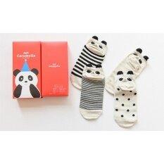 ขาย ถุงเท้า Caramella ถุงเท้าข้อเท้า ลายน่ารัก มาพร้อมกล่องน่ารัก 4คู่ กล่อง ใหม่