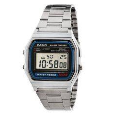 ราคา Casio นาฬิกาสำหรับผู้ชาย A158Wa 1Uwdf สายสแตนเลสสีเงิน เป็นต้นฉบับ