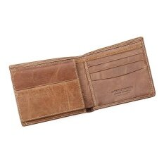 ซื้อ Casual Leather Bifold Wallets Women Men Flipout Slim Id Wallet Trifold Brown Intl ใน จีน