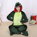ความคิดเห็น Catwalk Dinosaur *d*lt Unisex Pajamas Cosplay Costume Onesie Sleepwear S Xl Green