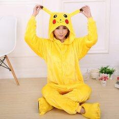 ส่วนลด Catwalk Pikachu *d*lt Unisex Pajamas Cosplay Costume Onesie Sleepwear S Xl Yellow Catwalk จีน
