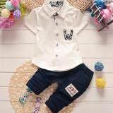 ซื้อ Cb ชุดเสื้อโปโล พร้อมกางเกง เด็กผู้ชาย ผ้ายืดเนื้อนิ่ม แต่งขอบผ้า ลายดอกไม้ กระเป๋าหน้า เสื้อขาว กางเกงกรม รุ่น 18 001 ออนไลน์