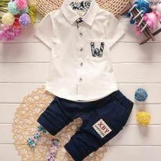 โปรโมชั่น Cb ชุดเสื้อโปโล พร้อมกางเกง เด็กผู้ชาย ผ้ายืดเนื้อนิ่ม แต่งขอบผ้า ลายดอกไม้ กระเป๋าหน้า เสื้อขาว กางเกงกรม รุ่น 18 001