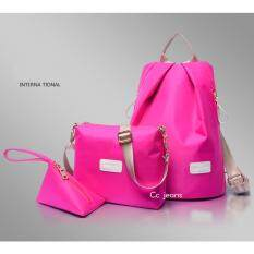 Cc Jeans กระเป๋าเป้ กระเป๋าสะพายข้างสีดำ กระเป๋าเซ็ท 3 ใบ No 111 Pink Cc ถูก ใน กรุงเทพมหานคร
