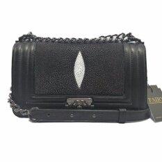 ซื้อ กระเป๋าหนังปลากระเบนแท้ ทรง Chanel Boy 10 นิ้ว รุ่น Cb 11 สีดำ Fairy Bag