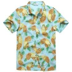 Charmkpr Mens Plus Size Hawaiian Pineapple Printing Loose Sunscreen Summer Shirt Sky Blue Intl ใน จีน