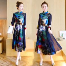 ซื้อ ผ้าฝ้ายผ้าไหมผ้าฝ้ายหญิงฤดูใบไม้ผลิและฤดูใบไม้ร่วงในส่วนยาวของกระโปรง Cheongsam สีรูปภาพ Other ถูก