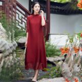 โปรโมชั่น จีนลมวรรณกรรมเสื้อผ้าจีนปรับปรุงชุด Cheongsam ไวน์แดง ถูก
