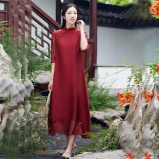 ขาย ซื้อ ออนไลน์ จีนลมวรรณกรรมเสื้อผ้าจีนปรับปรุงชุด Cheongsam ไวน์แดง