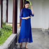 ขาย จีนลมวรรณกรรมเสื้อผ้าจีนปรับปรุงชุด Cheongsam สีฟ้า ออนไลน์ ฮ่องกง