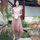 ขาย จีนลมวรรณกรรมเสื้อผ้าจีนปรับปรุงชุด Cheongsam สีชมพู ออนไลน์ ฮ่องกง