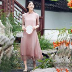 ราคา จีนลมวรรณกรรมเสื้อผ้าจีนปรับปรุงชุด Cheongsam สีชมพู เป็นต้นฉบับ Unbranded Generic
