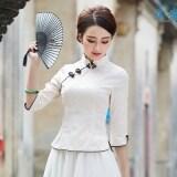 ซื้อ กระโปรงวรรณกรรม Cheongsam เสื้อผ้าแฟชั่น ปรับปรุงผู้หญิงในชีวิตประจำวัน สีเบจในแขนเสื้อ ใน ฮ่องกง