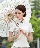 โปรโมชั่น กระโปรงวรรณกรรม Cheongsam เสื้อผ้าแฟชั่น ปรับปรุงผู้หญิงในชีวิตประจำวัน สีเบจเสื้อแขนสั้น