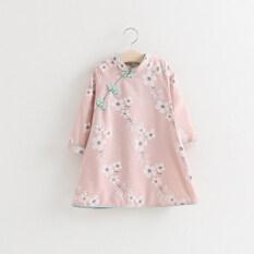 ชุด Cheongsam ลมชาติชุดเดรส C ขเด็ก สีชมพูอ่อน ฮ่องกง