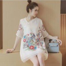 Mm ลมแห่งชาติเย็บปักถักร้อยใหม่ไซส์พิเศษไซส์ใหญ่พิเศษชุดเดรส Cheongsam สีขาว Unbranded Generic ถูก ใน ฮ่องกง