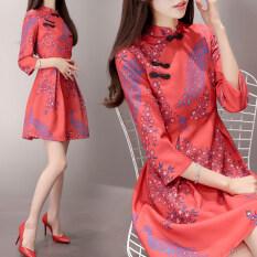 ราคา จือเชียย้อนยุคสีแดงหญิงใหม่ชีฟองดอกไม้กระโปรงปรับปรุง Cheongsam ชุดเดรส แตงโม Hong แขนฤดูใบไม้ผลิและฤดูใบไม้ร่วง ใหม่
