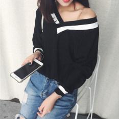 ราคา เก๋ Qiuyi เสื้อผ้าแฟชั่น แฟชั่นเสื้อยืดหญิงคอวี 123 คอวีสีดำ ใหม่