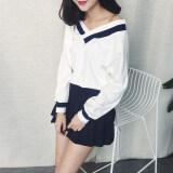 ขาย เก๋ Qiuyi เสื้อผ้าแฟชั่น แฟชั่นเสื้อยืดหญิงคอวี 123 คอวีสีขาว เป็นต้นฉบับ