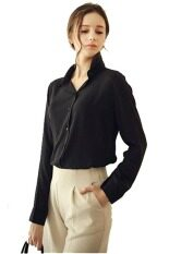 ราคา Chiffon Solid Down Collar Casual Loose Long Sleeve New Womens Shirt Top Blouse Tee Black ที่สุด