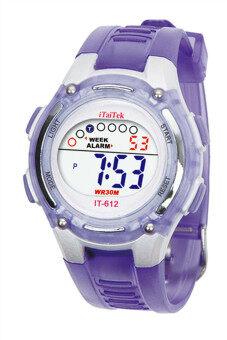เด็กสาวว่ายน้ำกีฬาชายดิจิตอลนาฬิกาข้อมือกันน้ำสีม่วง