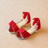 ซื้อ เด็กรองเท้าแตะฤดูร้อน 2016 ปากมุกหญิงรองเท้าแตะ แบนลูกปัดรองเท้า สีแดง ออนไลน์ จีน