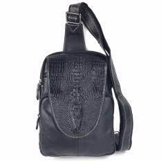 ซื้อ Chinatown Leatherกระเป๋าเป้หนังวัวแท้ลายกระโหลกจระเข้ทรงสี่หลี่ยม สายหนังสีดำ Chinatown Leather เป็นต้นฉบับ