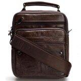 ขาย ซื้อ ออนไลน์ Chinatown Leather กระเป๋าสะพายหนังแท้หูจับแนวตั้งซิปยื่นหน้า ขนาด Ipad Mini สีน้ำตาล