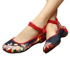 ซื้อ รองเท้าบัลเล่ต์จีนปักลายผู้หญิง Mary Jane รองเท้าผ้าฝ้ายรองเท้าแบน 34 ระหว่างประเทศ ออนไลน์