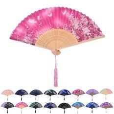 ขาย Chinese Hand Held Fan Bamboo Silk Butterfly Flower Folding Fan Wedding Decor Zs03 Intl ราคาถูกที่สุด