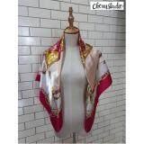Chomstudio ผ้าพันคอซาติน ผ้าไหมซาติน ผ้าคลุมไหล่แฟชั่น ขนาด 90 90 ผ้าพาดไหล่ ผ้าคลุมผูกโบว์ Herm Pink Gold Chomstudio ถูก ใน Thailand