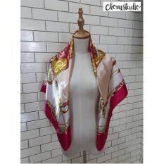 ขาย Chomstudio ผ้าพันคอซาติน ผ้าไหมซาติน ผ้าคลุมไหล่แฟชั่น ขนาด 90 90 ผ้าพาดไหล่ ผ้าคลุมผูกโบว์ Herm Pink Gold Chomstudio ออนไลน์