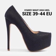โปรโมชั่น Chowy รองเท้าส้นสูง 6 นิ้ว ไซส์ใหญ่ กลิตเตอร์ รุ่น Kr0023 สีดำ ถูก