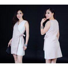 ราคา ชุดเดรสสั้นเอวผูก สีชมพูเบส รุ่น N 001 ออนไลน์ Thailand