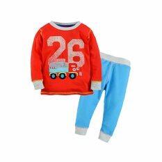 ชุดนอนเด็ก Little Maven เสื้อแขนยาว กางเกงขายาว สีแดงฟ้า ไซต์ 80-130 # 80020