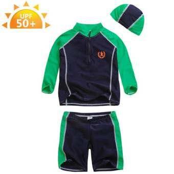 ชุดว่ายน้ำเด็ก VIVO BINIYA แขนยาว UPF50+ สีเขียว-น้ำเงิน  + หมวกว่ายน้ำ # F1398G