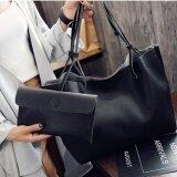ราคา ราคาถูกที่สุด Ck14 กระเป๋าสะพายข้าง กระเป๋าเป้ กระเป๋าแฟชั่น กระเป๋า Tote Bag กระเป๋า กระเป๋าสตางค์ กระเป๋าผู้หญิง กระเป๋าหนัง Pu เซต 2 ใบ รุ่น F 10011สีดำ