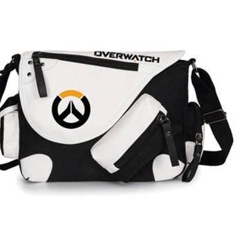 Classic Anime Overwatch Symbol Canvas Messenger Bag Shoulder Bag Satchel Cosplay (Black)