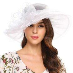 ขาย ราคาโปรโมชั่น Sunweb ใหม่สไตล์วินเทจ Organza ฤดูร้อนหมวกปีกกว้างหมวกโบว์งานแต่งงาน สีขาว Thailand