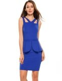 ขาย Clearance Price Sunwonder Women S Sleeveless Solid Work Business Party Peplum Bodycon Dress Blue Intl ถูก จีน