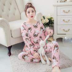 ขาย Clothes เซ็ตชุดนอนเสื้อ กางเกงลายการ์ตูนขายาว สีชมพู รุ่น 5025 ออนไลน์