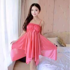 Clothes ชุดนอน Premium สายเดี่ยวกระโปรงยาว ประดับโบว์ด้านหน้าเก๋ๆ สีบานเย็น รุ่น5069 ใหม่ล่าสุด