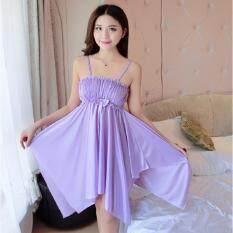 ขาย Clothes ชุดนอน Premium สายเดี่ยวกระโปรงยาว ประดับโบว์ด้านหน้าเก๋ๆ สีม่วง รุ่น5069 Clothes Fashion ผู้ค้าส่ง