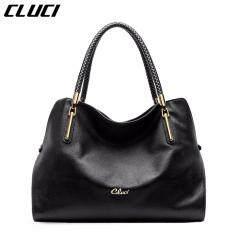 ราคา Cluci Women S Genuine Cowhide Leather Handbag Casual Shoulder Bag Black Intl ออนไลน์